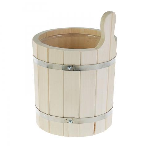 Шайка-ушат одноручная 5 л с пластмассовой вставкой, липа, обод нержавеющая сталь ПРОМО