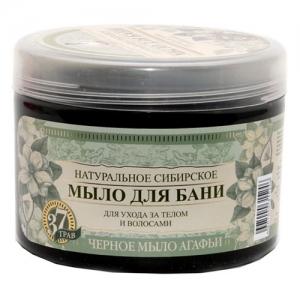 РЕЦЕПТЫ БАБУШКИ АГАФЬИ Натуральное сибирское мыло для бани Черное 500 мл
