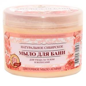 РЕЦЕПТЫ БАБУШКИ АГАФЬИ Натуральное сибирское мыло для бани Цветочное 500 мл