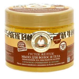 РЕЦЕПТЫ БАБУШКИ АГАФЬИ Мыло для волос и тела Лимонник на мыльном корне густое желтое 300 мл