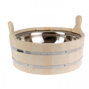 Шайка-ушат со вставкой из нержавеющей стали 12,5 л., обод нержавеющая сталь ПРОМО