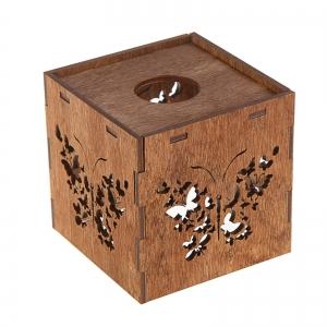 """Плафон деревянный """"Бабочки"""", коричневый, 10*10*10см"""