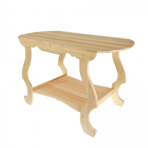 Стол с фигурными ножками с полкой 130×63×73 см