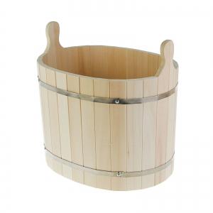 Шайка-ушат (двуручная)овал 30 л, липа, обод нержавеющая сталь ПРОМО
