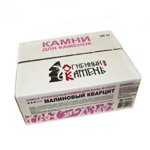 Кварцит малиновый 20 кг, коробка обвалованный
