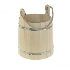 """Ведро """"Емеля"""" липовое, с ручкой- верёвкой, обод из нержавеющей стали, 13 л, 2541887"""